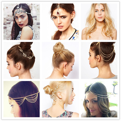Women Metal Rhinestone Head Chain Headband Head Piece Hair Band Hair Accessories