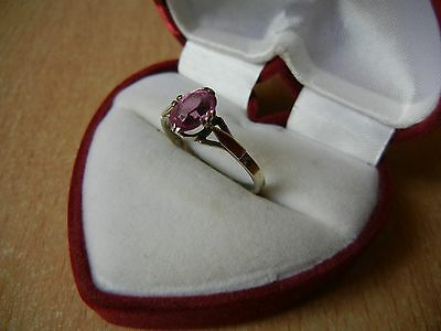 Vintage USSR RING SILVER GOLD PLATED 875 Star Size 10 Pink STONE 2.1 g