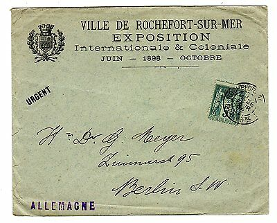 1898 France to Germany Cover / Rochefort Exhibition / Label.