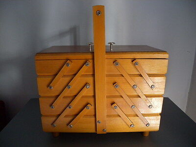 Retro Vintage Timber Cantilever Sewing Box Caddy Craft Storage Schaerf