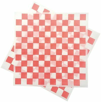 Deli Squares - Wax Paper Sheets 12 x 12 Pack of 100 Checkered Red