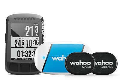 Wahoo Fitness ELEMNT BOLT Fahrradcomputer Bundle incl. RPM Speed Cadence, TICKR