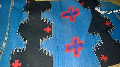 """Wool rug possibly Mexican """"Navajo"""" design-59"""" x 28 3/4""""-beautiful bright Colors"""