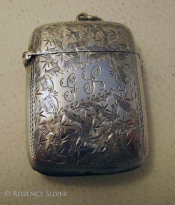 LARGE 30.8g Victorian Antique Solid Sterling Silver English Vesta Match Case Box