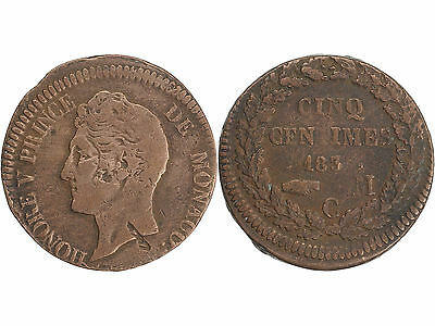 Monaco  1837 M 5 Centimes Honore V Center Error Coin / Monnaie Frappe Decalee