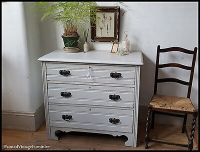 Beautiful Antique Grey Hand Painted Chest of Drawers Farrow & Ball