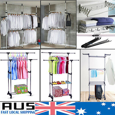 8Type Clothes Garment Rack Hanger Laundry Drying Stand Display Movable Organizer