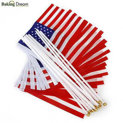 10Pcs USA HAND WAVING FLAGS ON STICKS Stars and Stripes 4th July Decorations
