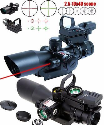 UUQ Tactical 2.5-10X40 Rifle Scope w/ Red Laser & Holographic Dot sight