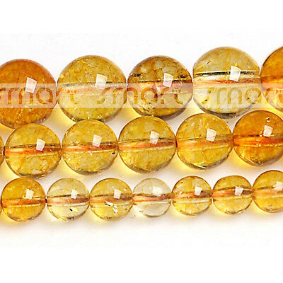 """Yellow Synthetic Cracked Crystal Round Loose Beads 15.5"""" Inches Strand"""