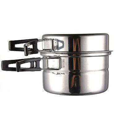 Stainless Steel Cookwear Portable Outdoor Camping Frying Pan Soup Pot Steam Set