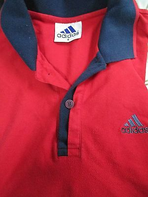 Adidas Men's Red & Navy ClimaLite Performance Logo Tech Polo Shirt - Size Small