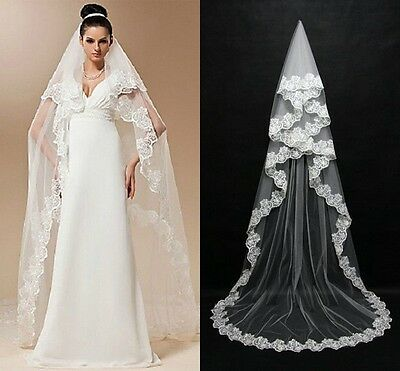 New 1 Layer White Wedding Bridal Veil Lace Edge Cathedral Length Applique 3 M