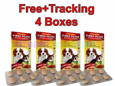 4Boxes V-maxP6000 Chewables dogs&cat 10-77lbs for tick&flea control anthelmintic
