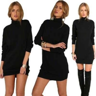 Women Winter Autumn Wram Turtleneck Knit Dress Loose Base Sweater Mini Dress New