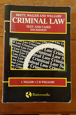 Criminal Law: Text and Cases Book by C. R. Williams and Louis Waller