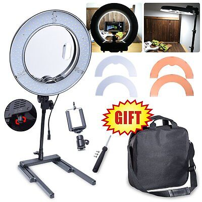 AU 40W 34cm 13'' Diva LED Ring Light with Mirror Stand iPhone Camera Holder Kit