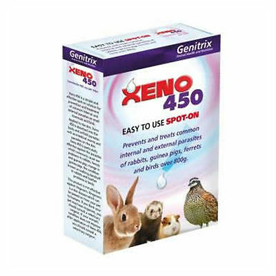 Xeno 450 6 pipettes Rabbit Guinea Pig Ferret Flea & Mite Protection Brand New