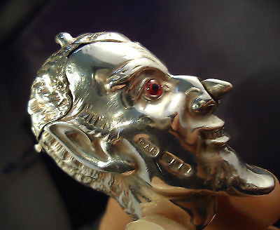 Solid .925 Silver Vesta Case - Devils Head - David A. Bowles, London - Rare