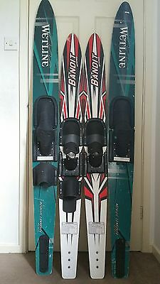 WATER SKIS × 2 and 2 WETSUITS JOB LOT