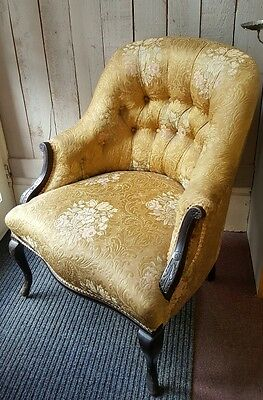 Antique Victorian Mahogany Ebonized Carved Fireside Hall Side Armchair Chair