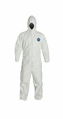 DuPont Tyvek TY127S  Disposable Coverall with Hood Elastic Cuff White Large (...
