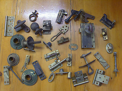 Collection Of Vintage Brass Door Furniture Knobs Latches Handles Locks