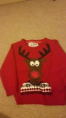 christmas jumper with flashy nose aged 3 - 4