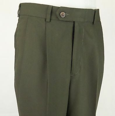 Vtg Olive Green Pleated Turn Up Trousers 90s does 40s / 50s  W31 EA79