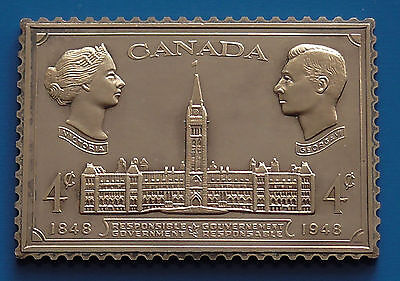 Gold plated on Sterling Silver Stamp Ingot Canada 4 Cents Responsible Government