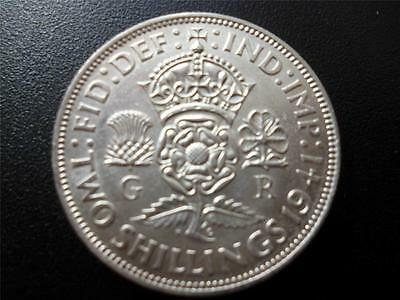 1941 Two Shilling coin in extremely fine condition,George 6th .500 silver florin