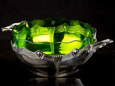 c1935 German Art Deco WMF Silver Plate and Glass Bowl