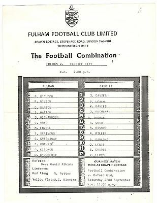 Fulham Res v Cardiff City Res 1970s ? 1980s?