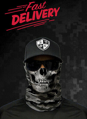 Original SA Face Shield / Military Camo Skull Grey / Buff Balaclava Bandana Neck