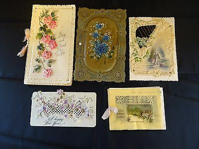 Vintage Celluloid Hand-painted Greeting Cards and Plaques from the late 1800's