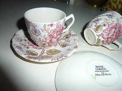 Lot de 5 tasses Johnson Bros Rose chintz Made England