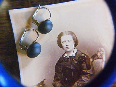 Antik Historismus um 1880 edle Gagat 800er Silber Ohrringe Antique Jett Earrings