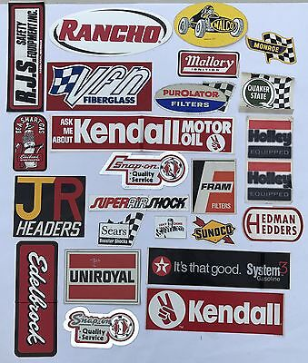 "25 Vintage ""Scratch & Dent"" Auto Racing Stickers Holley Edelbrock Decals Lot"