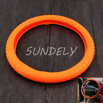 """UK Silicone Car Steering Wheel Cover Skidproof Odorless Eco Friendly 16"""" Orange"""