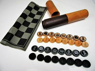Vintage  German Travel Chess & Draughts Set Roll Up Board -Non Jaques