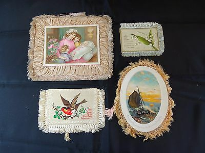 Vintage Silk trimmed greetings cards from the late 1800's