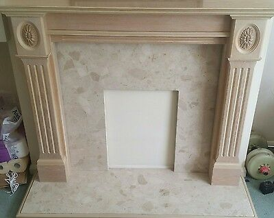 Limed Oak Fireplace With Stone Hearth And Surround