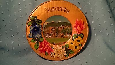 Vintage Hand Carved and Painted Wood Plate; Souvenir from Mannheim, Germany