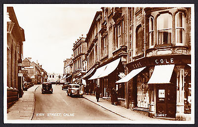 High Street Calne Wiltshire South West England Real Photo Postcard RPPC Road Car