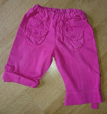 Baby Girls Pink Cropped Trousers Age 3-6mths FREE UK DELIVERY