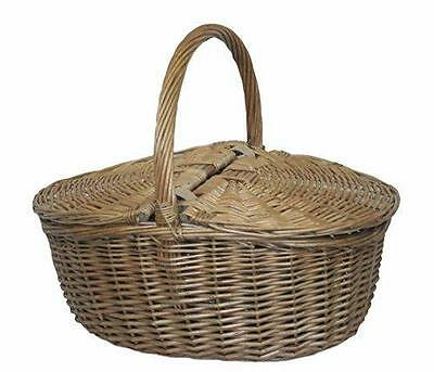 Wicker Willow Oval Picnic Basket - antique finish
