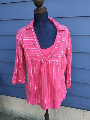 Oh Baby! Motherhood Women Salmon Striped V Neck Shirt Tank Top 3/4 Sleeve Size M