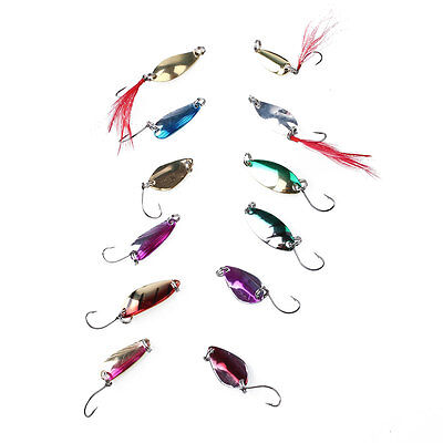 12pcs Sequin Spinner Spoon Slice Fishing Lures Feathers Hard Bait Hook Tackle
