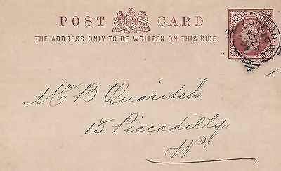 GB 1891 London W.C. Squared Circle Cancels ½d PSC to Piccadilly