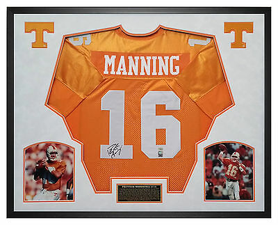 Peyton Manning Autographed Custom Jersey Framed in Shadow Box Mounted Memories